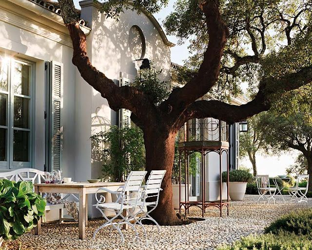 .: Country Houses, Cottage, Gardens, Trees, Places, Backyard, Outdoor Spaces, Stones Patio, Courtyards