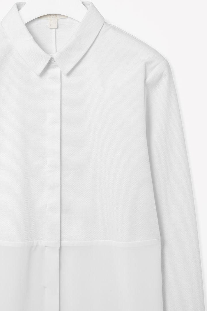 Silk panel shirt dress
