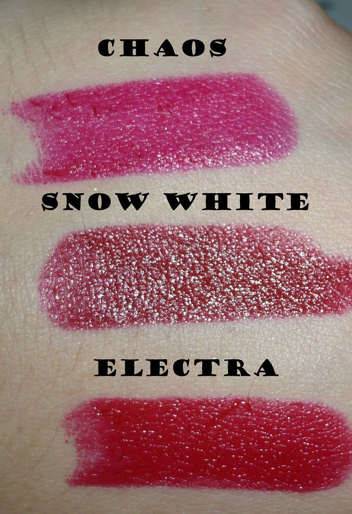 NYX Round Lipstick Swatches in Chaos, Snow White and ...  NYX Round Lipst...