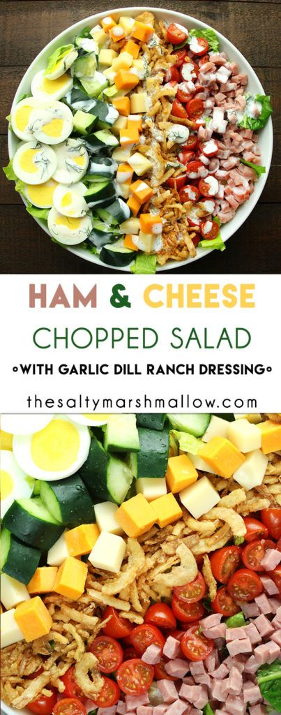 An easy and healthy chopped salad with homemade garlic dill ranch!