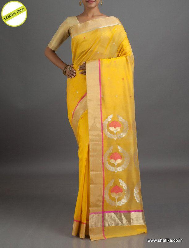 #LemonTree Rose Bud on Pallu #ChanderiSilkSaree