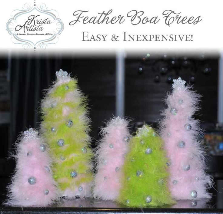 Easy and simple tutorial on how to make feather boa Christmas trees.