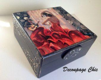 Caja de joyería - caja flamenca negro y rojo, hecho a mano