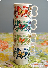 butterflies and flowers? yes please. #vintage #mug #butterfly #flower