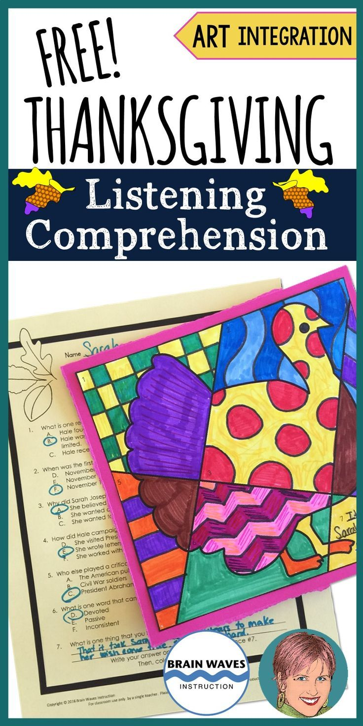 Combine critical listening skills and art with this festive Thanksgiving FREEBIE!  In this Thanksgiving lesson students listen to a passage about how Thanksgiving became a national holiday.  Then, they answer questions about the passage before transforming their answers into a festive Pop Art Turkey!  Fun, creative, and educational!