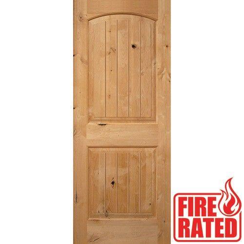 Fire Rated 6 39 8 2 Panel Arch V Groove Knotty Alder Door Slab Knotty Alder Doors Pinterest