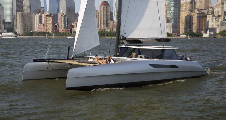 """Gunboat """"Rainmaker"""" sailing off Manhattan"""