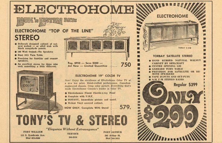 Vintage advertising for Tony's TV & Stereo.
