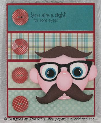 Hey, Lindsey, here's a card for you!  From Kim Score at http://www.paperpunchaddiction.com/2012/07/mustache-man-punch-art.html