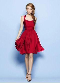 A-Line/Princess Square Neckline Knee-Length Lace 30D Chiffon Bridesmaid Dress With Ruffle