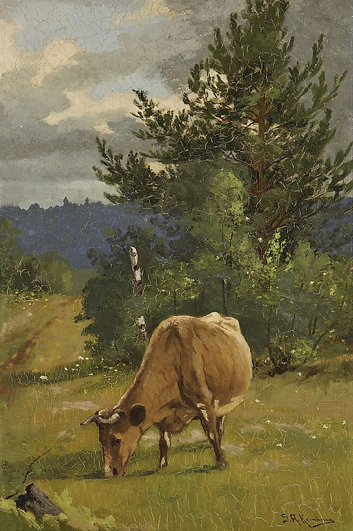 Grazing cow - Sigfrid August Keinänen (1841-1914) - Finland - Finnish cow