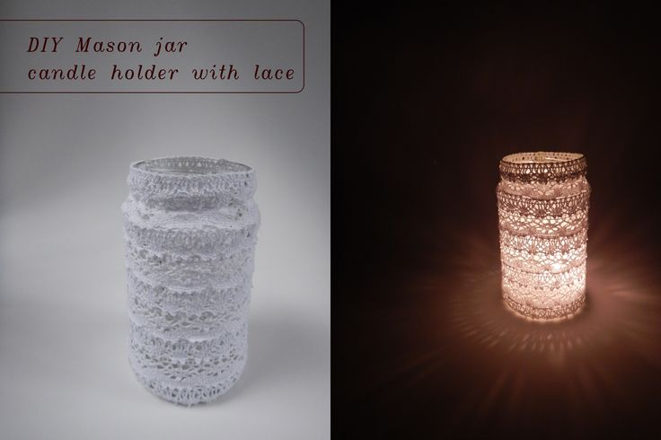 DIY mason jar lace candle holder. / Krajkový svícen. #DIY #mason #jar #candleholder #lace #krajka #svícen #romantic #wedding