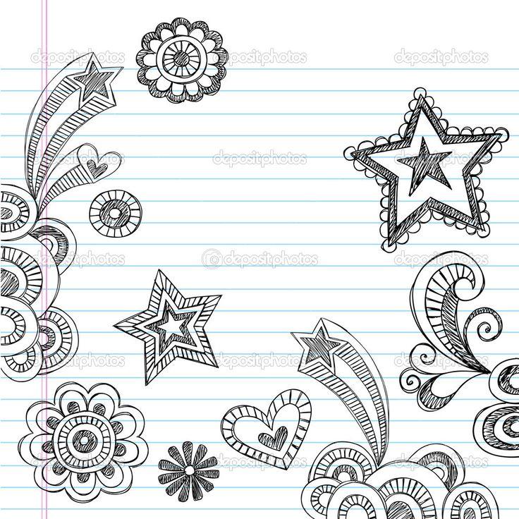 Hand Drawn Back To School Sketchy Notebook Doodles Vector Illustration Design Elements On Lined Sketchbook Paper Background