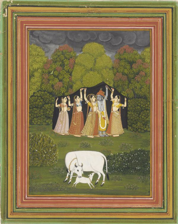 """Krishna protects gopis from the rain."" India, 18th century."