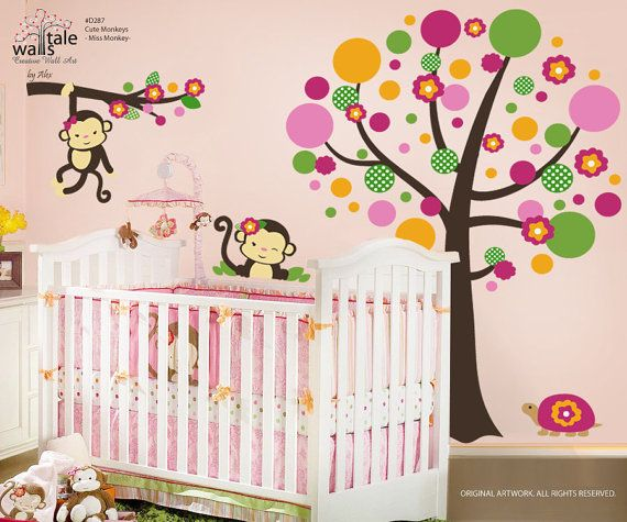 Wall's Tale Wall Decals - Turkey - Miss Monkey Bedding, Monkey Stickers for Girls room. Monkey wall decals., $128.00 (http://www.wallstale.com/miss-monkey-bedding-monkey-stickers-for-girls-room-monkey-wall-decals/)