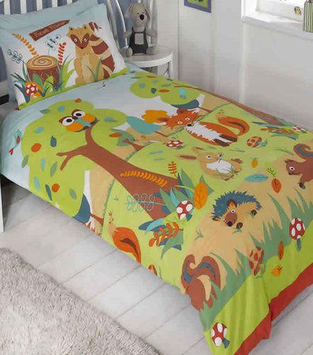 forest friends toddler junior duvet cover owls fox wildlife in home furniture u0026 diy bedding bed linens u0026 sets