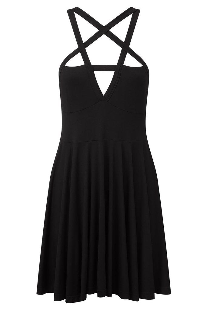 "Shop Black MAGI skater dress from KILLSTAR ""Serpent of Old, Ruler of Deep, Guardian of the Bitter Sea - Show us your glory, Show us your power. We pray of thee!"