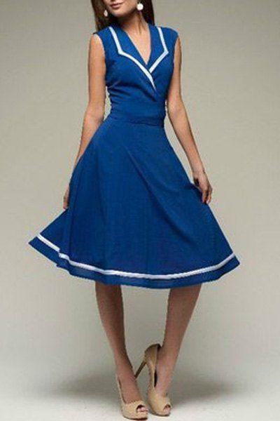 Elegant Turn-Down Collar Color Block Sleeveless Dress For Women