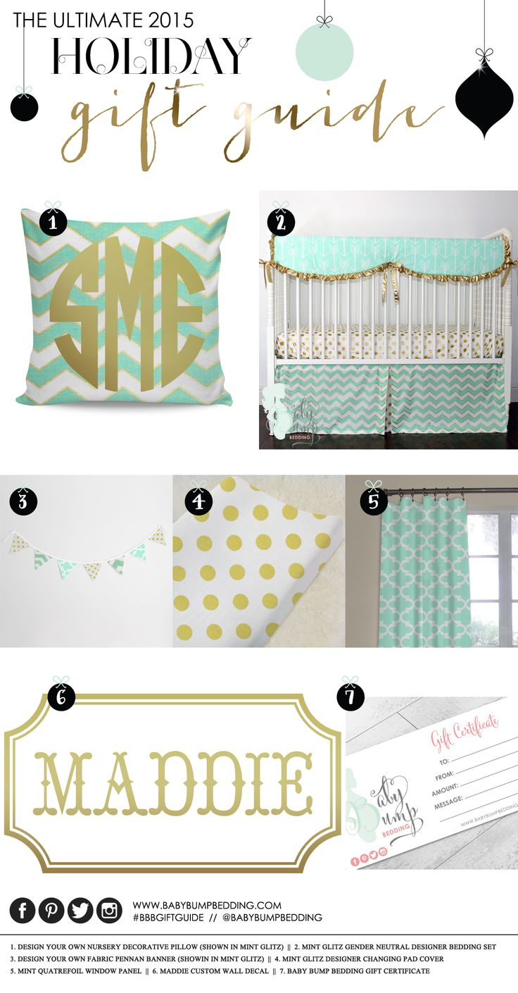 Baby Bump Bedding Holiday Gift Guide - Nursery Edition. Be the best gift giver ever!! Custom monogrammed nursery pillow, designer crib bedding, nursery wall art, custom changing pad cover, monogramming, and Baby Bump Bedding gift cards.