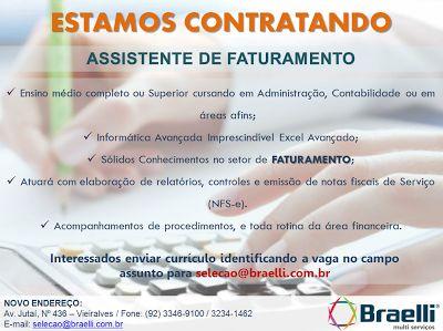 RH Manaus - Agência de Divulgação: Assistente de Faturamento