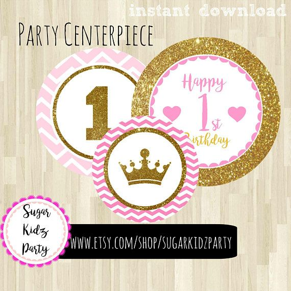 70% princess party, centerpiece, pink and gold, princess, cake topper, gold princess cake topper, pink cake topper, centerpiece, kids party
