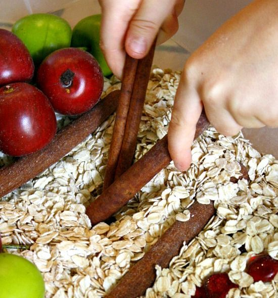 Apple Cinnamon Sensory Bin - Great for Pre-K Complete Preschool Curriculum's Apple theme and Fall theme. Pre-K Complete Preschool Curriculum uses Sensory Stations daily. Repinned by Pre-K Complete - follow our blog, FB, Twitter, and Google Plus.