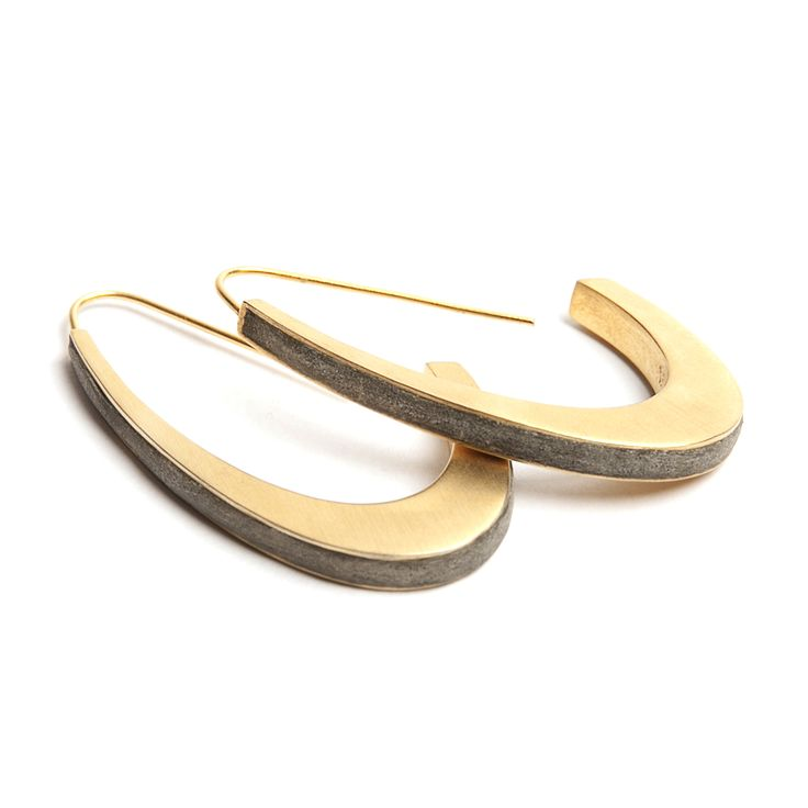 Gold plated and concrete Gondole Arch Earrings
