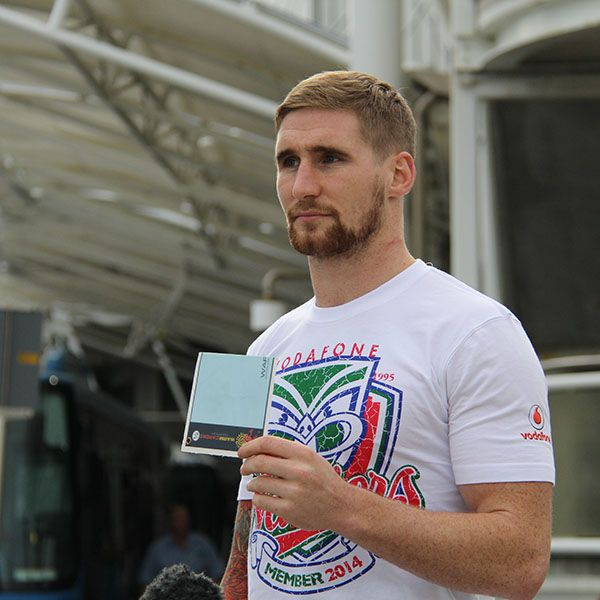 Sam Tomkins during a white balance check before a live TV cross to Frontline