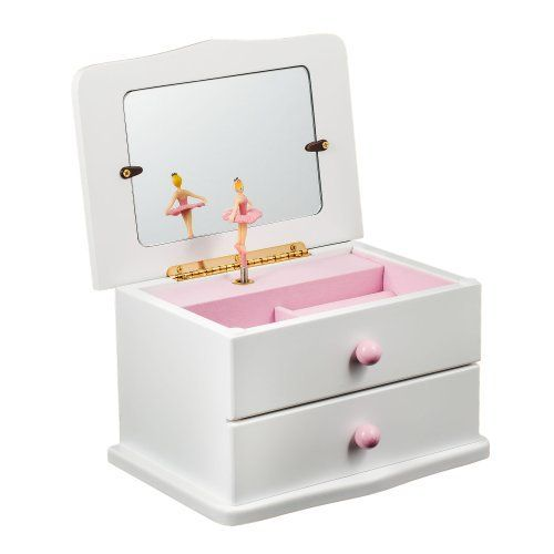 White Wooden Musical Jewelry Box with Drawer Twirling Ballerina to