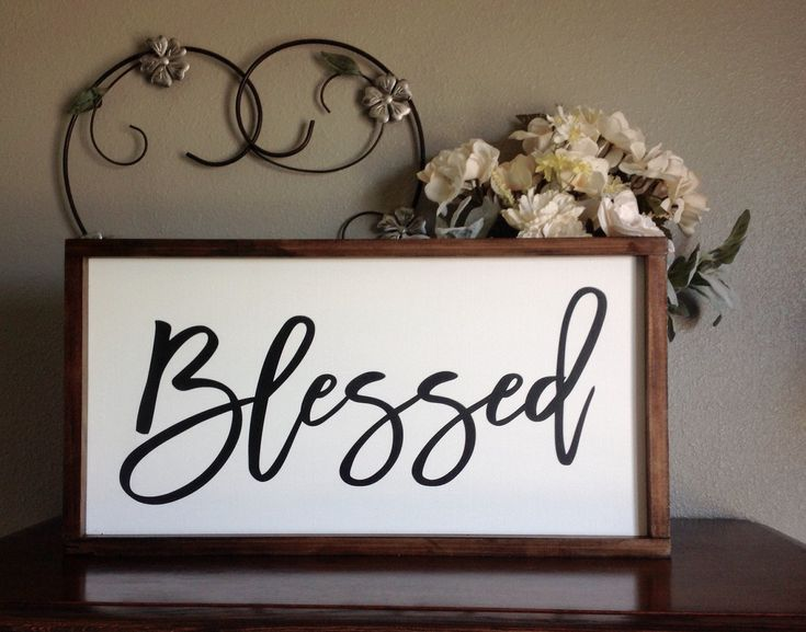 Blessed Sign, Inspirational Wood Sign, Entryway Decor, Home Decor Sign, Above Couch Sign, Farmhouse Style Sign, Wood Sign Saying