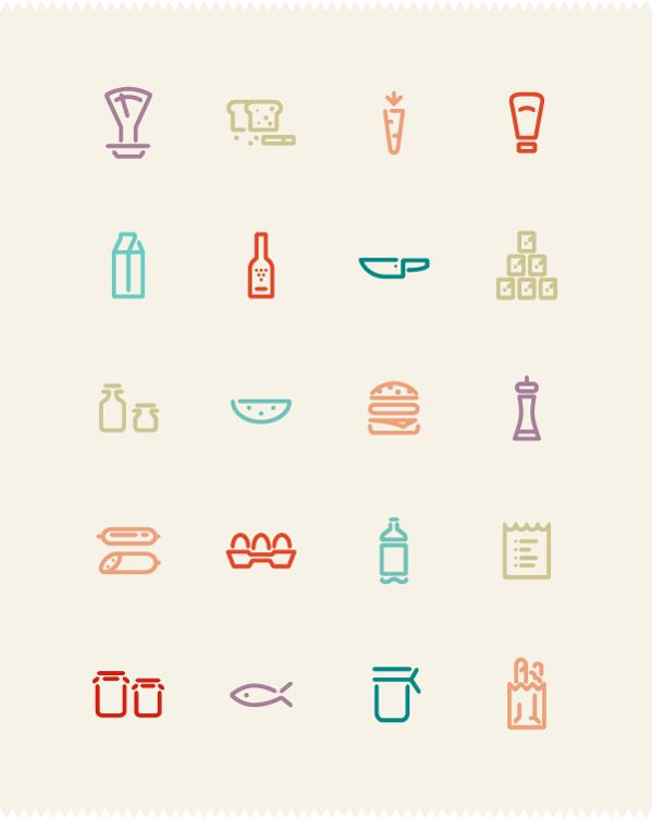Grocery Icon Set by Omur Ozgur, via Behance