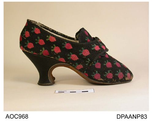Shoes painted with strawberries 1760-1770, Hampshire City Council museum