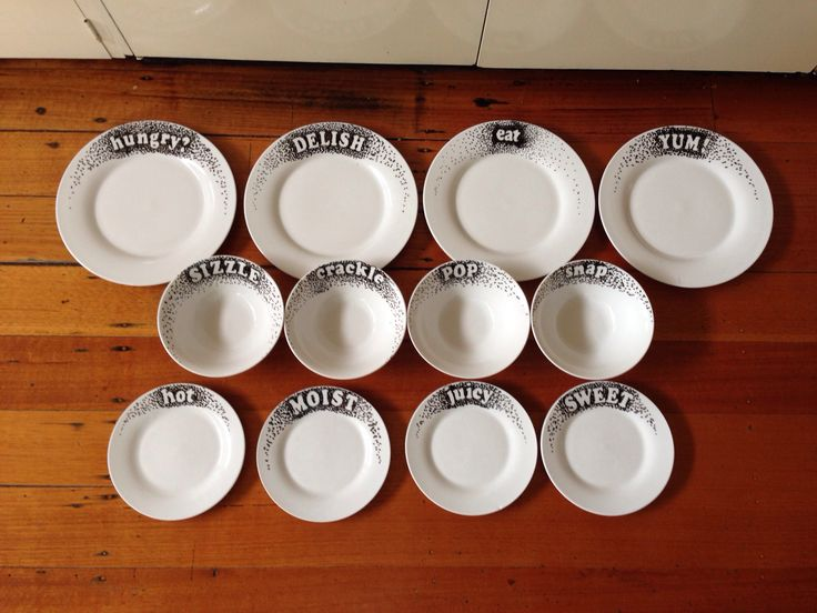 Hand decorated plates!  Use sticky letters as a template and then dot around them using a china pen!