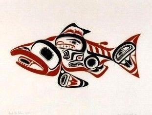 """Haida Dog Salmon"" (1974)  Bill Reid (Haida)  RARE Serigraph print edition/600  20"" X 26"""