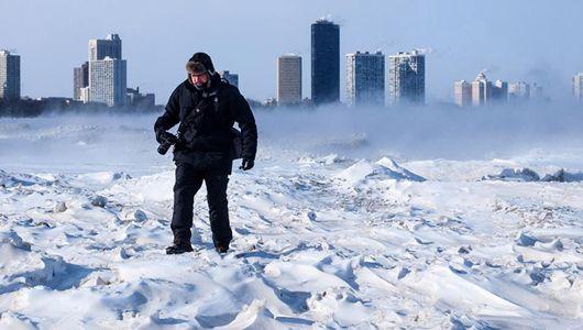 Photographer braves Arctic temperatures to capture the surreal frozen landscapes of Chicago's Montrose Beach.