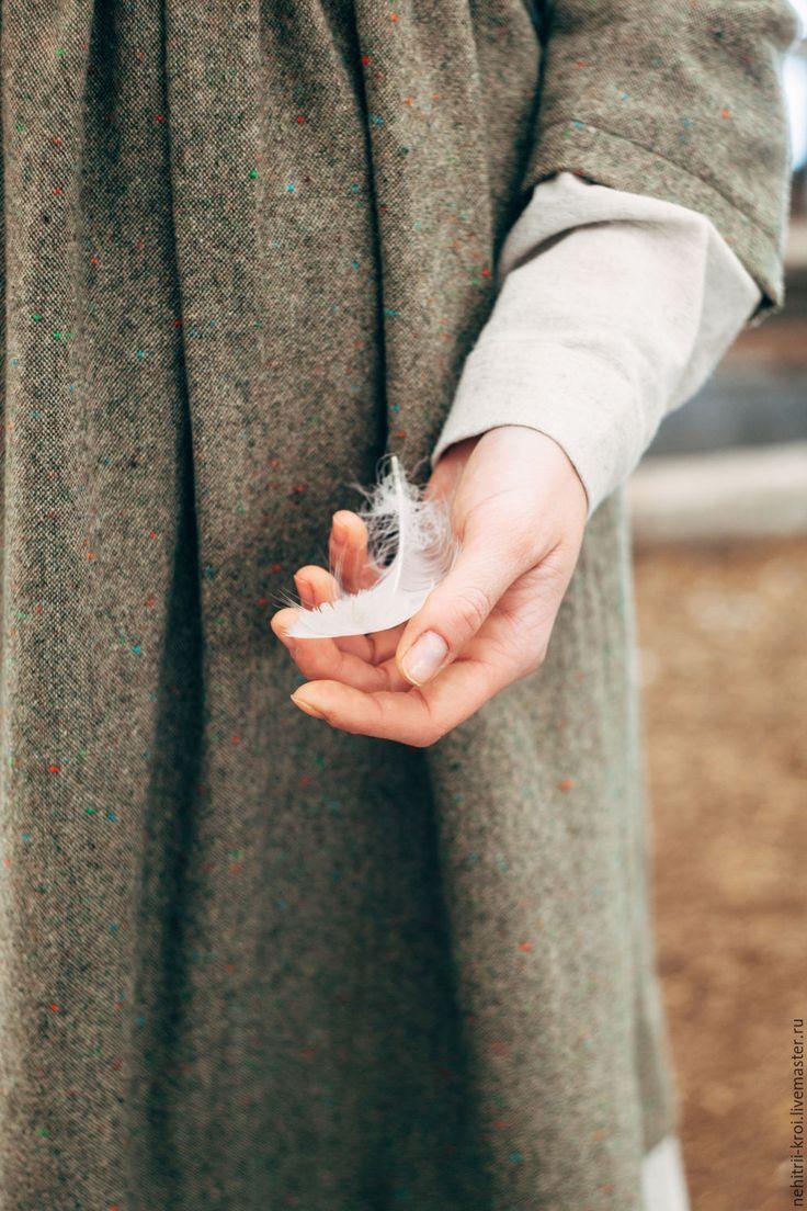 Купить Шерстяное зимнее платье - хаки, однотонный, шерстяное платье, шерстяная ткань, шерсть 100%
