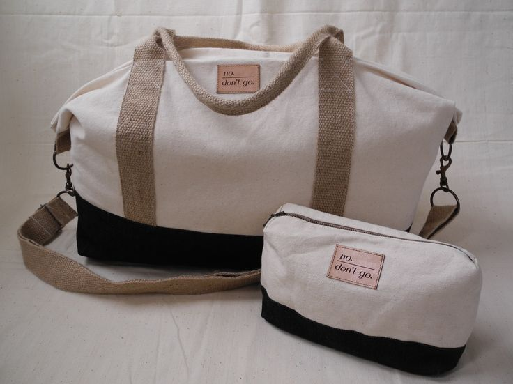 Final 'No. Don't go.' Weekender bag with matching vanity case. Made from 100% organic cotton canvas and indigo-dyed denim with jute straps. Made by the Siyazenzela sewing initiative in Vrygrond township, Cape Town. Available on http://nodontgostore.com