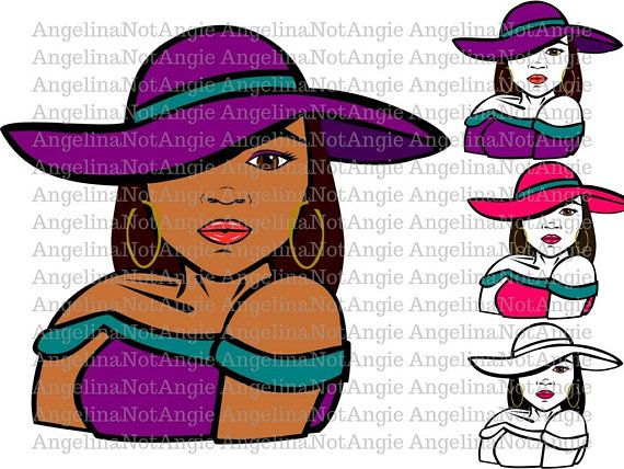 Download BLACK WOMAN SVG DxF - Robyn, Long Straight Hair, Relaxed ...