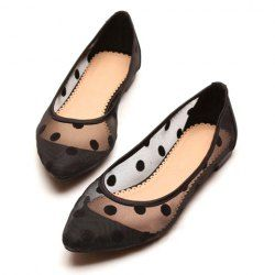 Stylish Cute Gauze Women's Flat Shoes With Polka Dot and Candy Color Design (BLACK,37) China Wholesale - Sammydress.com