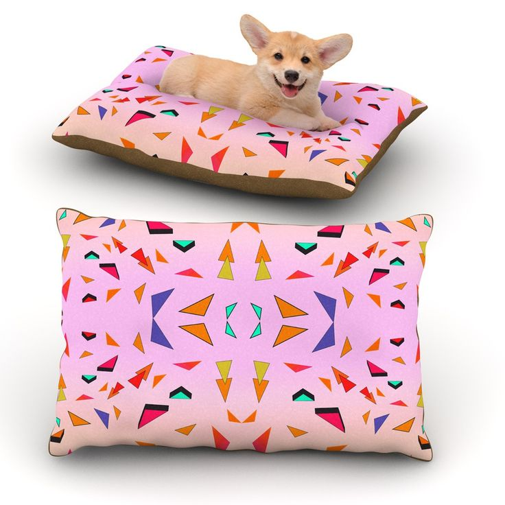 """Vasare Nar """"Candy Land Tropical"""" Pink Geometric Dog Bed"""