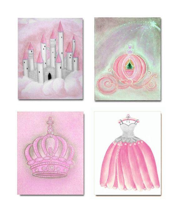 Baby Girl Princess Nursery Pink Grey Decor, SET OF 4 Princess Art Prints, Girls Wall Art, Kids Decor, Kids Art, Princess Art for Children