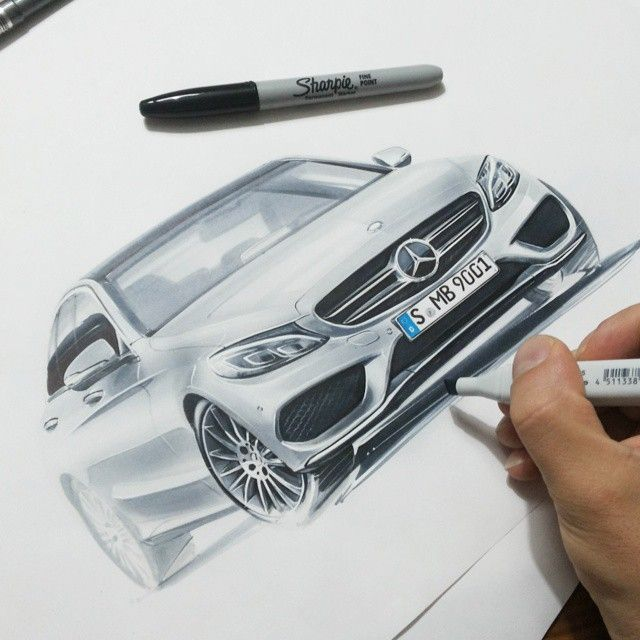 Mercedes Benz C Klasse sketch by Orhan Okay. Amazing level of detail and control.