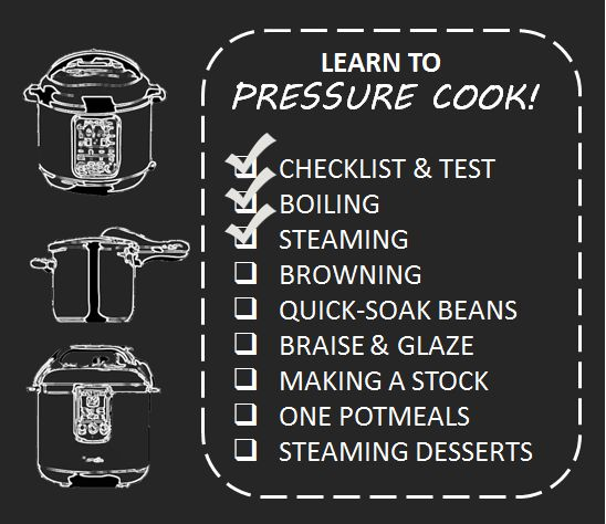 Learn to pressure cook by reading and then doing. With a a set of detailed recipes to familiarize you with common pressure cooker cooking methods and accessories. Each lesson features an introduction explaining the technique and then a detailed recipe to illustrate it. Here is the plan, the recipes, and the skills they will teach you:  Start Here: Beginner Basics Checklist , the parts you should pay attention to when reading your manual.  Lesson 1:  Smashed Potatoes, Boiling and your…