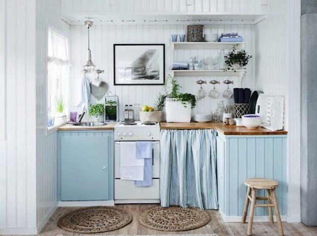 Cuisine bleu ciel, idéal pour une cuisine d'été