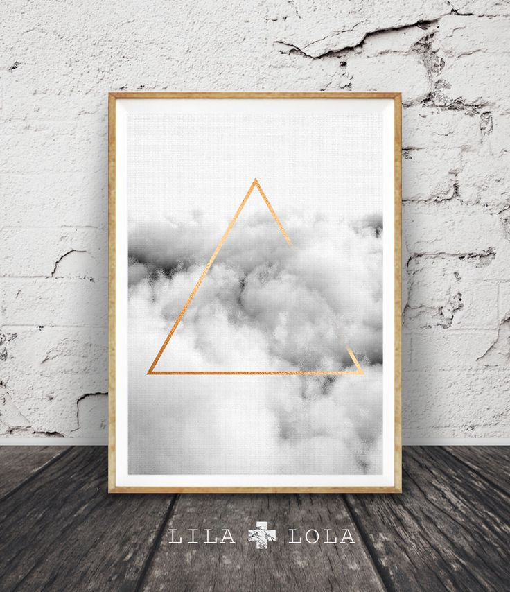 Geometric Cloud Print Black And White Printable Poster