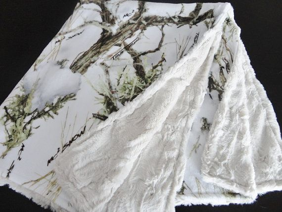Minky Camo Baby Blanket - True Timber Snow Minky on Plush Latte Minky- Gender Neutral on Etsy, $40.00