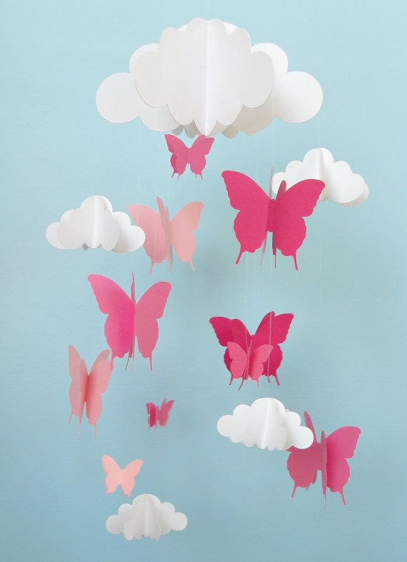 butterfly mobile baby mobile butterflies and cloud. Black Bedroom Furniture Sets. Home Design Ideas