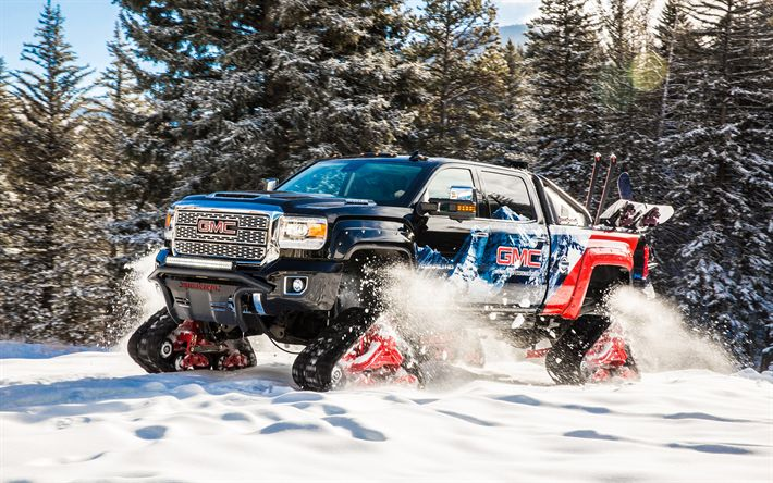 GMC Sierra 2500HD, All Mountain Concept, 2017, 4k, SUV on caterpillar, winter, snow, American cars, pick-up on caterpillars, GMC