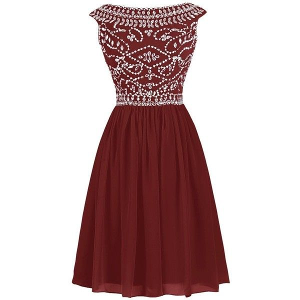 Dressystar Short High Neck Prom Dress Crystal Reception Sweet 16 Party... ($68) ❤ liked on Polyvore featuring dresses, gowns, short prom dresses, short red dress, party dresses, prom gowns and red prom dresses