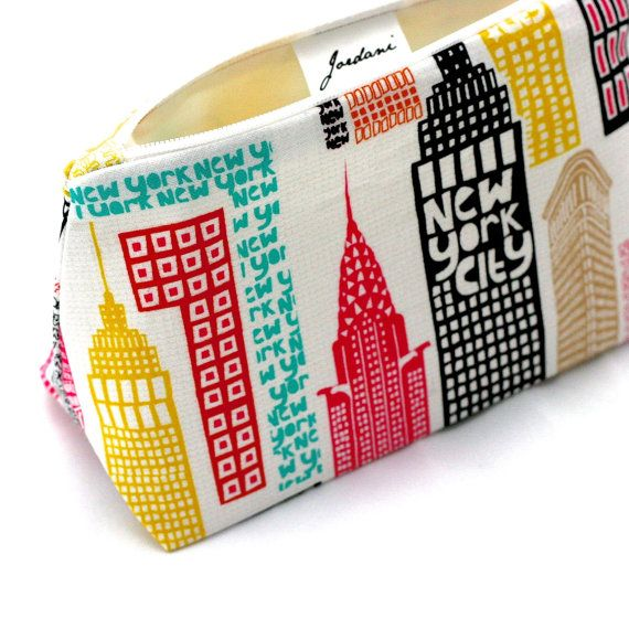 New York City Skyline Travel Cosmetic Bag: by LePiqueNiqueHandmade